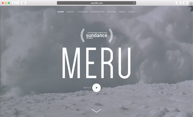 Screenshot of MeruFilm.com, the film's title overlays an Avalanche.