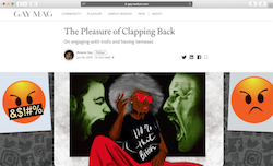 Screenshot of an article published in Gay titled 'The Pleasure of Claping Back' by Roxanne Gay.